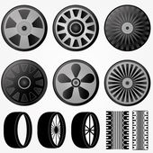 Vector black wheel icons set — Stock Vector