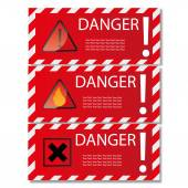 Danger sign banner with warning text. — Stockvektor