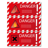 Danger sign banner with warning text. — Stock Vector