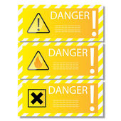 Danger sign banner with warning text. Isolated — Stock Vector