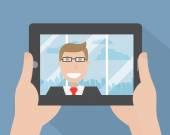 Hands holding digital tablet — Stock Vector