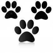 Black Paw Print — Stock Vector