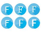 Letter F. Blue font — Stock Vector