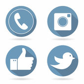 Blue flat social network icon set — Stok Vektör