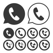Black and white Handset icon set — Stock Vector