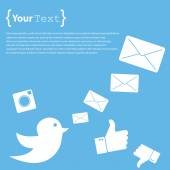 Twitter sign with envelopes — Vetor de Stock