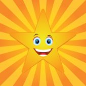 Smiling star with sun rays — Stock vektor