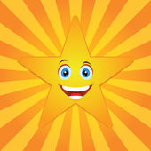 Smiling star with sun rays — Stock Vector