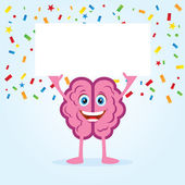 Brain holding placard — Stock Vector