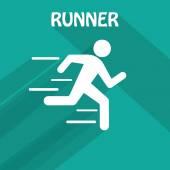 One running man — Stock Vector