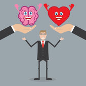 Brain and heart of man — Stock Vector