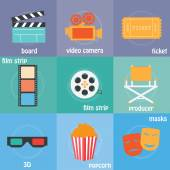 Color icons cinema, — Stock Vector