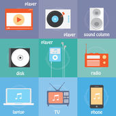 Color icons sound production icons — Stock Vector