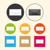 Email icons on colored — Stok Vektör
