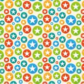 White stars in color circles — Stock Vector