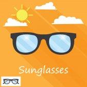 Sunglasses icon on orange — Stock Vector
