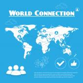 World connection blue and white — Stock Vector