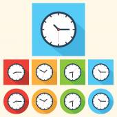 Flat clock icon — Stock Vector