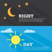 Sun and moon, day and night — Stock Vector