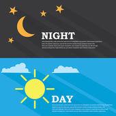 El sol y Luna, día y noche — Vector de stock