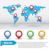 World map with color points — Stock Vector