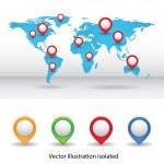 Mapa mundial con puntos de color — Vector de stock  #73537607