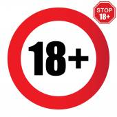 18+ age restriction sign — Stock Vector