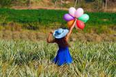 The girl with balloons. Vintage style — Stok fotoğraf