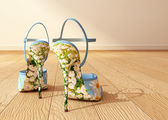 High heeled chamomiled shoes on interior background. 3d rendering — Stock Photo