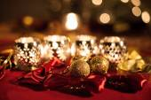 Holiday Decorations. Christmas Table. — Stock Photo