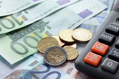 Euro currency and calculator — Foto de Stock