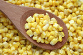 Preserved corn in a wooden spoon — Stock Photo