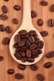 Coffee beans in a wooden spoon — Stock Photo
