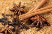 Spices and brown sugar — Stock Photo
