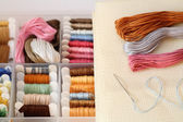 Preparations for embroidery (Cross-Stitch) — Stock Photo