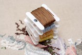 Embroidery floss cards — Stock Photo