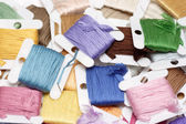 Strand Embroidery floss cards — Stock Photo
