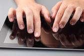 Hands Using Digital Tablet — Stock Photo