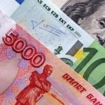Постер, плакат: Rubles euro and dollars