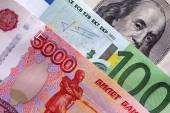 Rubles, euro and dollars — Stock Photo