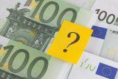 Question mark on European Union Currency — Fotografia Stock