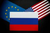 Russian and European Union & American flags — Stock Photo