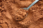 Cocoa powder with spoon — Stock Photo