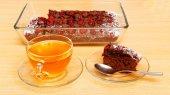 Piece of brownie - chokolate cake with cherry — Stock Photo