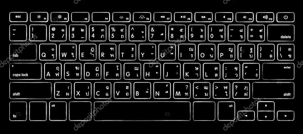 计算机泰语字母键盘带背光照明