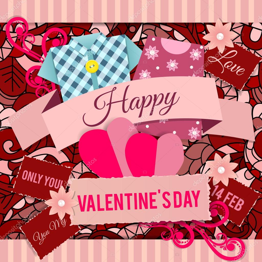 How to scrapbook words - Valentine S Day Background In Scrapbook Style With Words Of Love And Decorative Elements Stock Vector