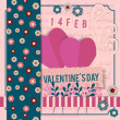 Valentine's Day scrapbook postcard background in vintage colors with decorative elements — Stock Vector #61925479