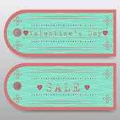 Sale badges for Valentine's Day. Front and back — Stock Vector