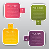 Squares colorize info graphic web banners with rounded corners and with step numbers — Stock Vector