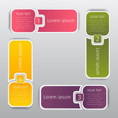Squares colorize info graphic web banners with rounded corners, step numbers and with spaces for text — Stock Vector